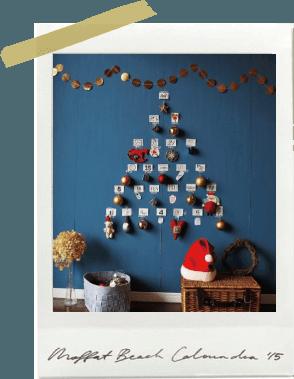 手作りアドベントカレンダーはツリー風にデコレーション