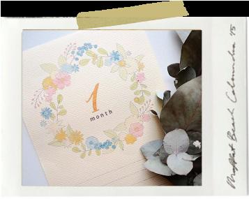 生後1ヶ月のお祝いに、マンスリーカードを印刷してメッセージカードに。